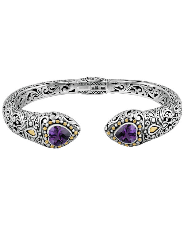 Bali Filigree Heart Gemstones Cuff Bracelet in Sterling Silver with Solid 18K Gold Accents