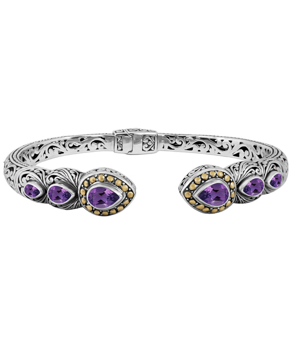 Bali Filigree Pear Gemstones Cuff Bracelet in Sterling Silver and Solid 18K Gold Accents
