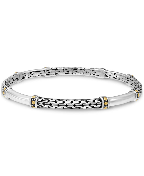 Dragon Bone Bangle Bracelet in Sterling Silver with Solid 18K Gold Accents