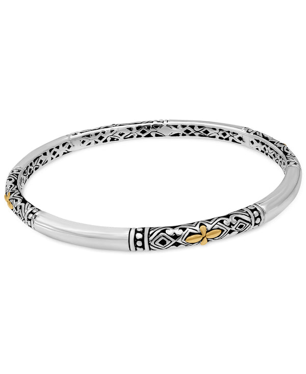 Bali Filigree Ring-Bracelet in Sterling Silver and Solid 18K Gold Dot Accents