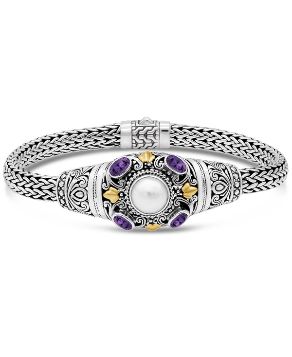 Bali Filigree Dragon Bone Chain Bracelet in Sterling Silver and 18K Gold Accents with Freshwater Cultured Pearl and Amethyst or Blue Topaz or White Topaz or Garnet or Peridot or Citrine