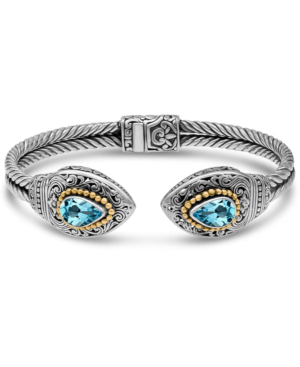 Bali Filigree Cuff Bracelet in Sterling Silver and 18K Gold with Amethyst / Blue Topaz