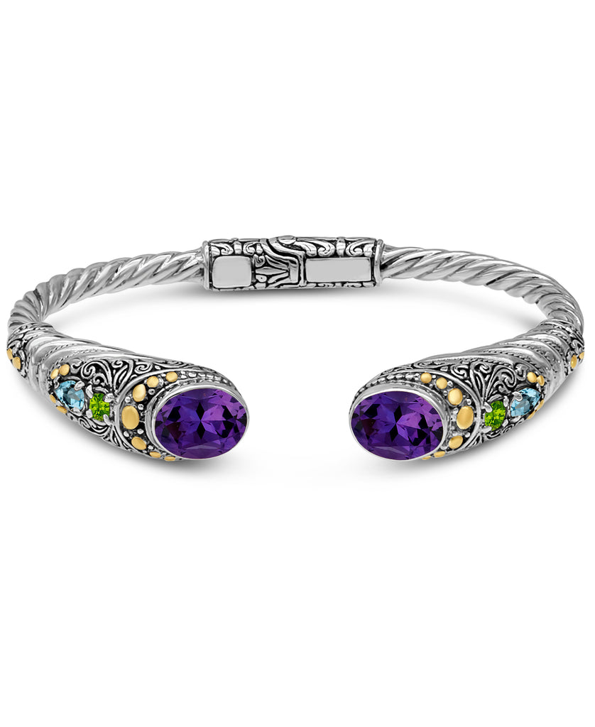 Bali Filigree Cuff Bracelet in Sterling Silver and 18K Gold with Amethyst / Blue Topaz / Citrine
