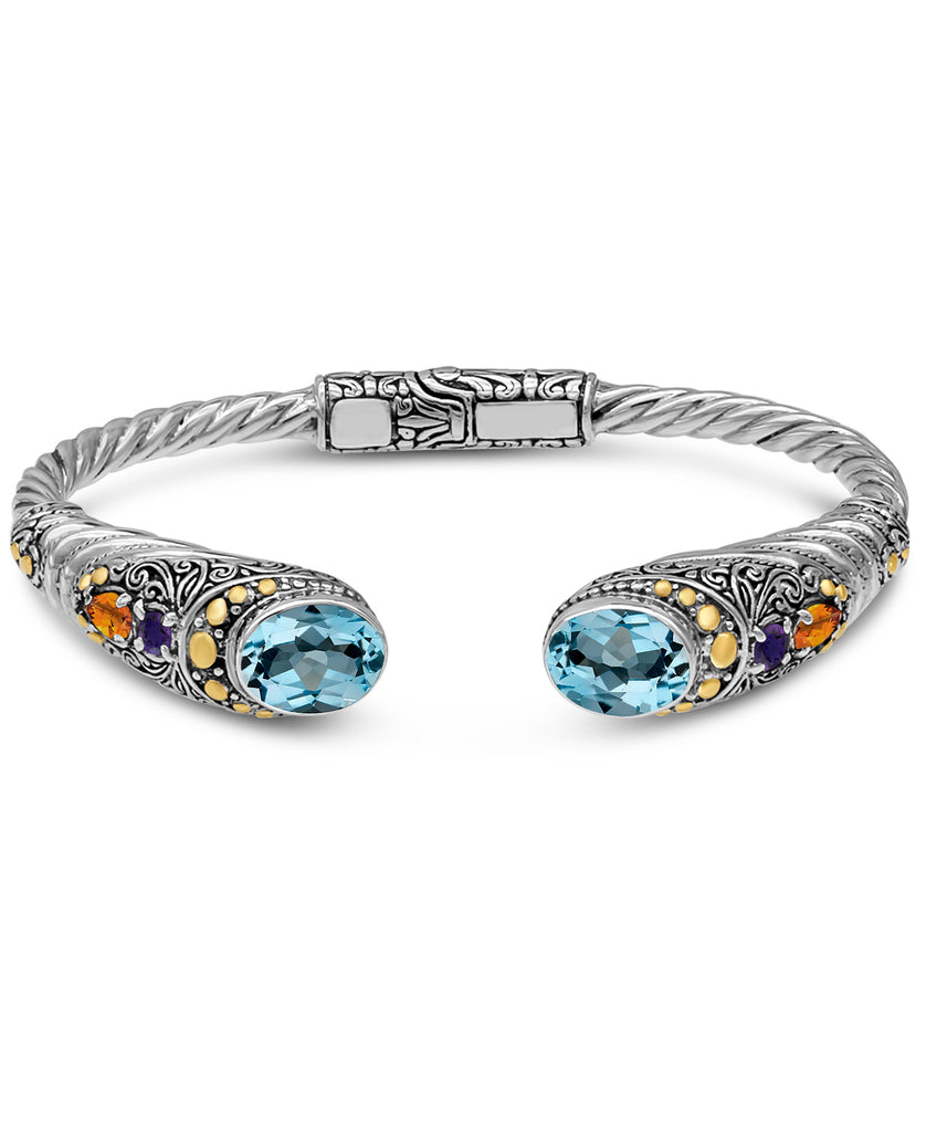 Bali Filigree Cuff Bracelet in Sterling Silver and 18K Gold with Mix Amethyst-Blue Topaz-Citrine