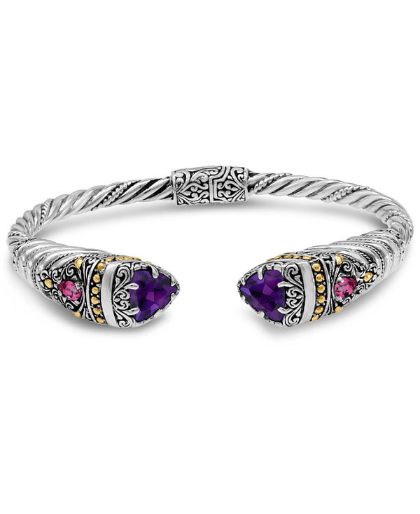 Bali Filigree Cuff Bracelet in Sterling Silver and 18K Gold with Amethyst