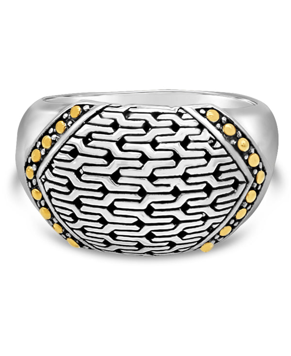 Bali DEVATA Filigree Sterling Silver Ring embellished by 18K Gold
