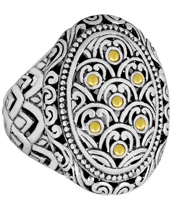 Bali Filigree Dragon Skin Dome Ring in Sterling Silver and 18K Gold