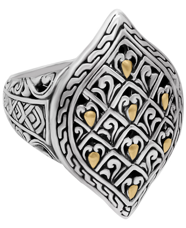 Bali Filigree Dragon Skin Ring in Sterling Silver and 18K Gold