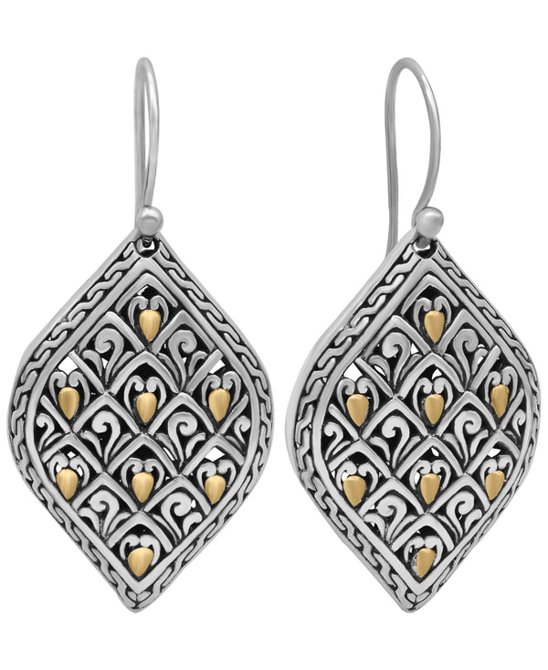 Bali Filigree Sterling Silver Dragon Skin Drop Dangle Earrings embellished by 18K Gold Accents