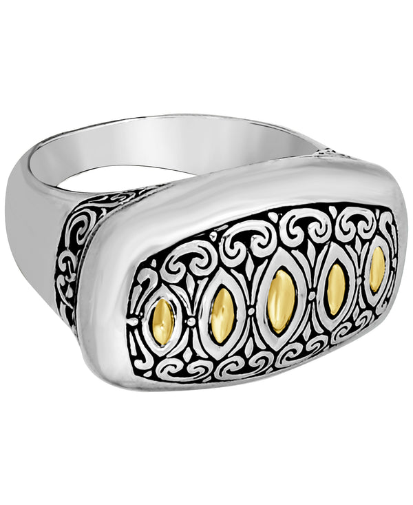 Bali Filigree Dome Ring in Sterling Silver and 18K Gold
