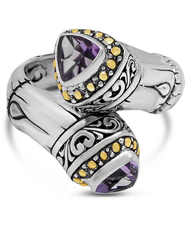 Bamboo Bali Filigree Bypass Ring in Sterling Silver and 18K Gold with Amethyst - Blue Topaz - Swiss Blue Topaz - Pink Topaz - White Topaz -Black Spinel - Garnet - Peridot - Citrine