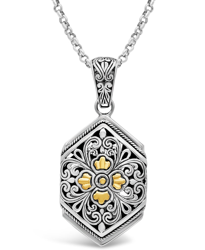 Bali Filigree Pendant Necklace with Rolo Chain in Sterling Silver and 18K Gold