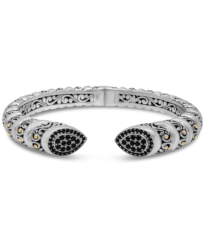 Bali Filigree Cuff Bracelet in Sterling Silver and 18K Gold with Black Spinel / CZ