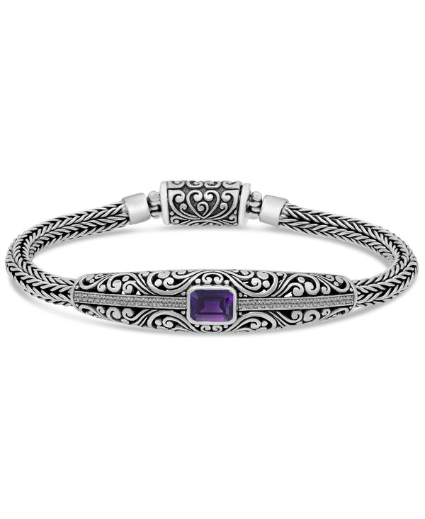 Bali Filigree Chain Bracelet in Sterling Silver and 18K Gold with Amethyst / Blue Topaz