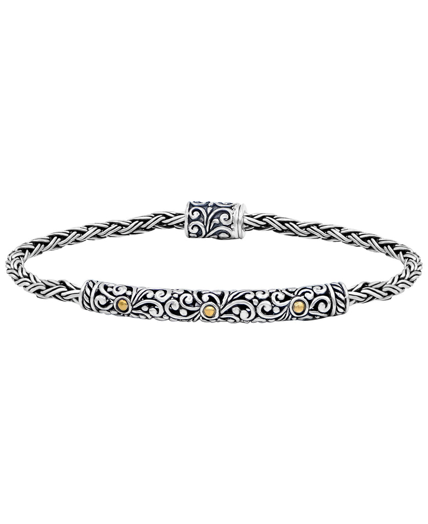 Bali Filigree with Double Wheat Chain Bracelet in Sterling Silver and 18K Gold