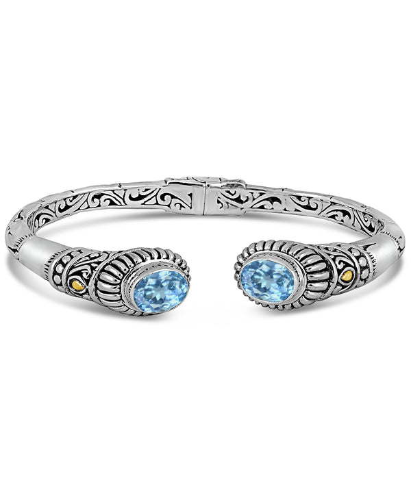 Bali Filigree Bamboo Oval Gemstones Cuff Bracelet in Sterling Silver and Solid 18K Gold Accents