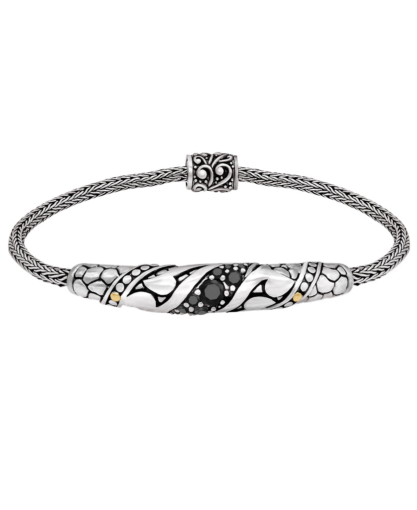 Bali Filigree with Spinel / CZ Woven Dragon Bone Chain Bracelet in Sterling Silver and 18K Gold
