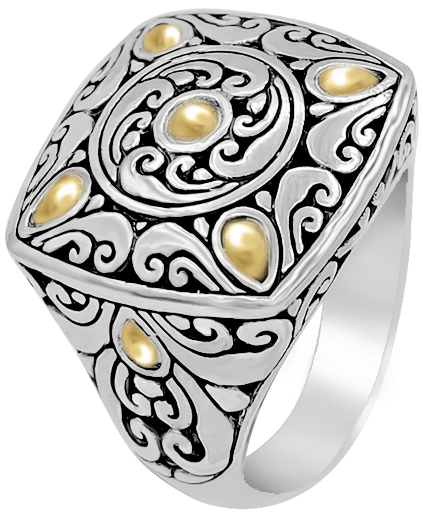 Bali Filigree Square Dome Ring in Sterling Silver with Solid 18K Gold Accents