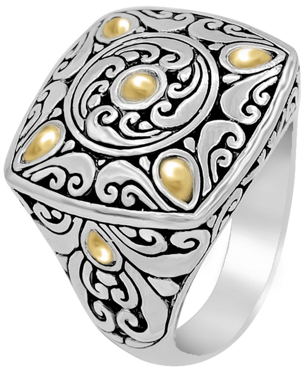 Bali DEVATA Filigree Sterling Silver Square Dome Ring embellished by 18K Gold