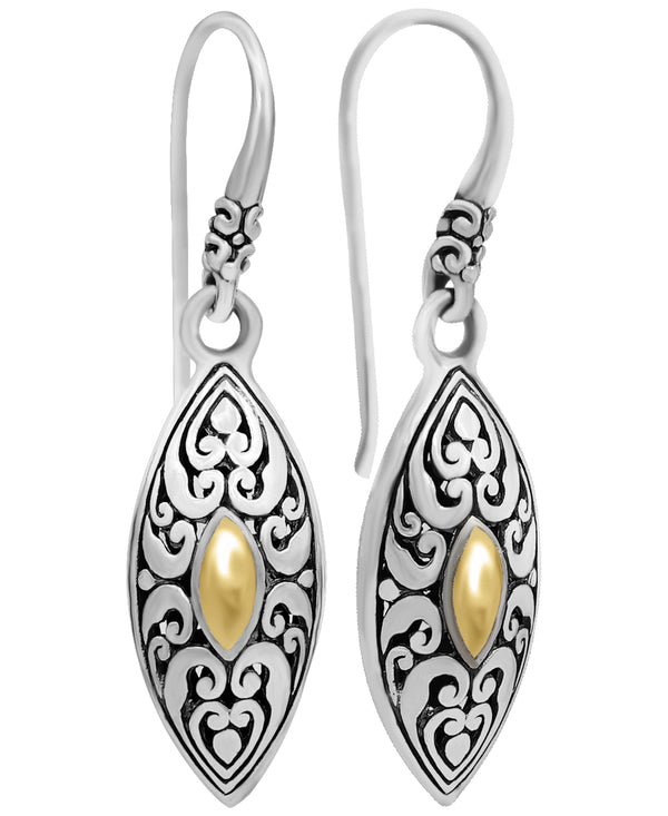 Bali Filigree Sterling Silver Angel Eyes Marquise Drop Earrings embellished by 18K Gold Accents