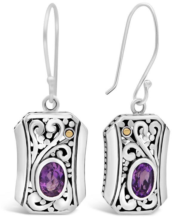 Bali Filigree Drop Earrings in Sterling Silver and 18K Gold with Amethyst / Black Spinel / Cubic Zirconia / Blue Topaz