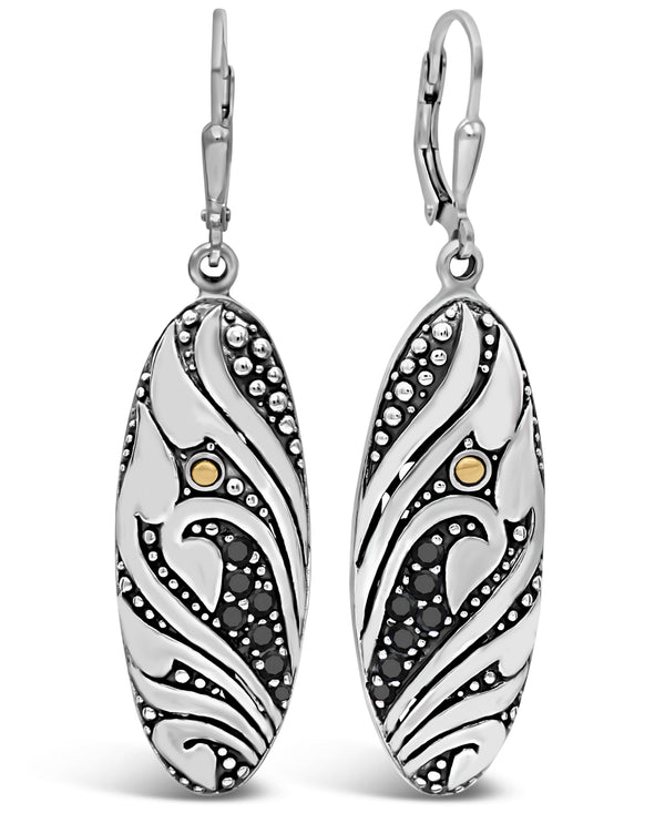 Bali Filigree Leverback Earrings in Sterling Silver and 18K Gold with Cubic Zirconia / Black Spinel / Lab-Created Sapphire