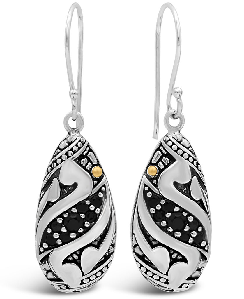 Bali Filigree Drop Earrings in Sterling Silver and 18K Gold with Cubic Zirconia / Black Spinel