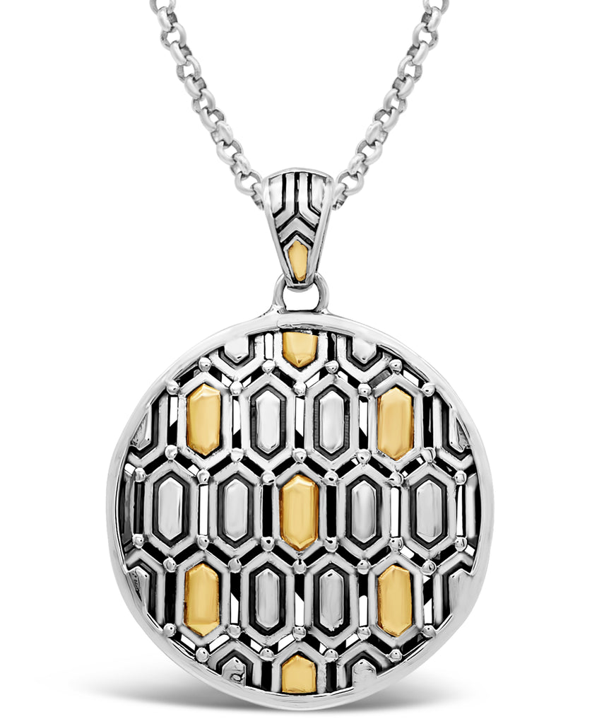Bali Filigree Pendant Necklace Bee Nest with Rolo Chain in Sterling Silver and 18K Gold