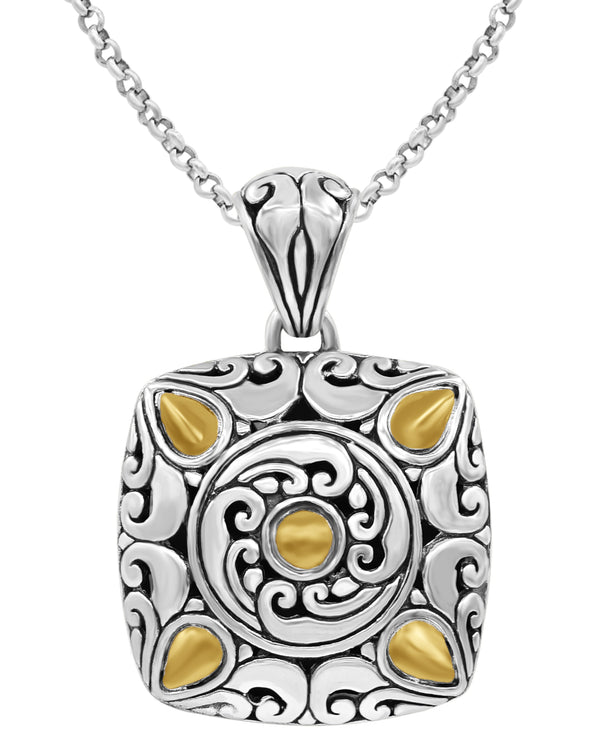 Bali Filigree Square Pendant Necklace with Rolo Chain in Sterling Silver and 18K Gold