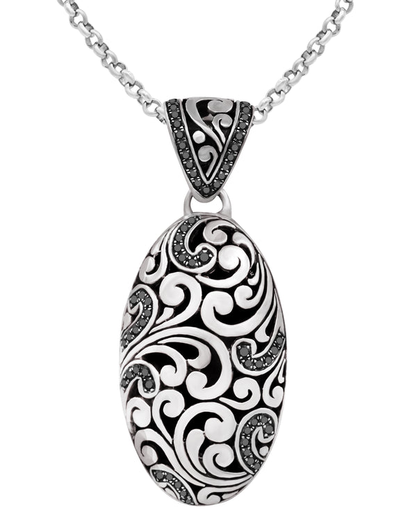 Bali Filigree Pendant Necklace with Rolo Chain and Blue Cubic Zirconia / Black Spinel in Sterling Silver and 18K Gold