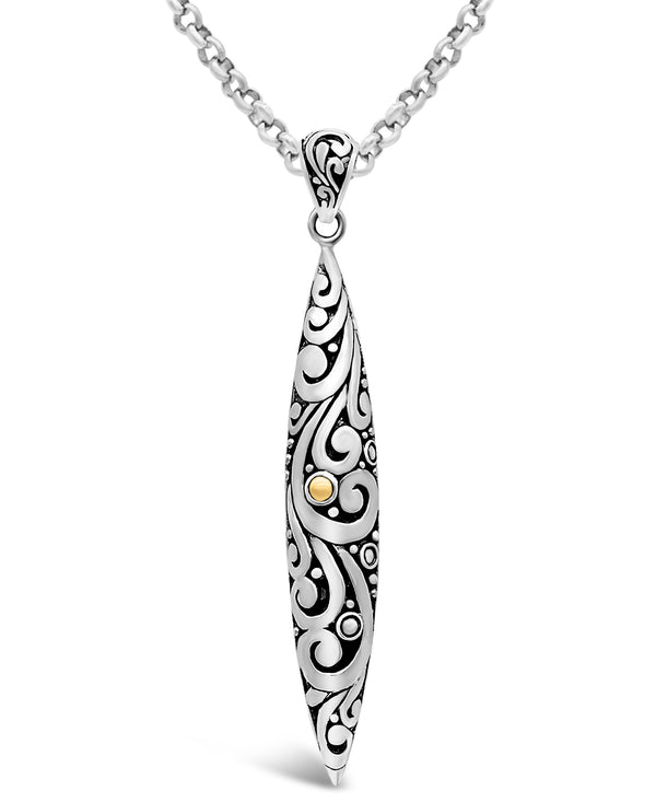 Bali Filigree Spear Pendant Necklace with Rolo Chain in Sterling Silver and 18K Gold
