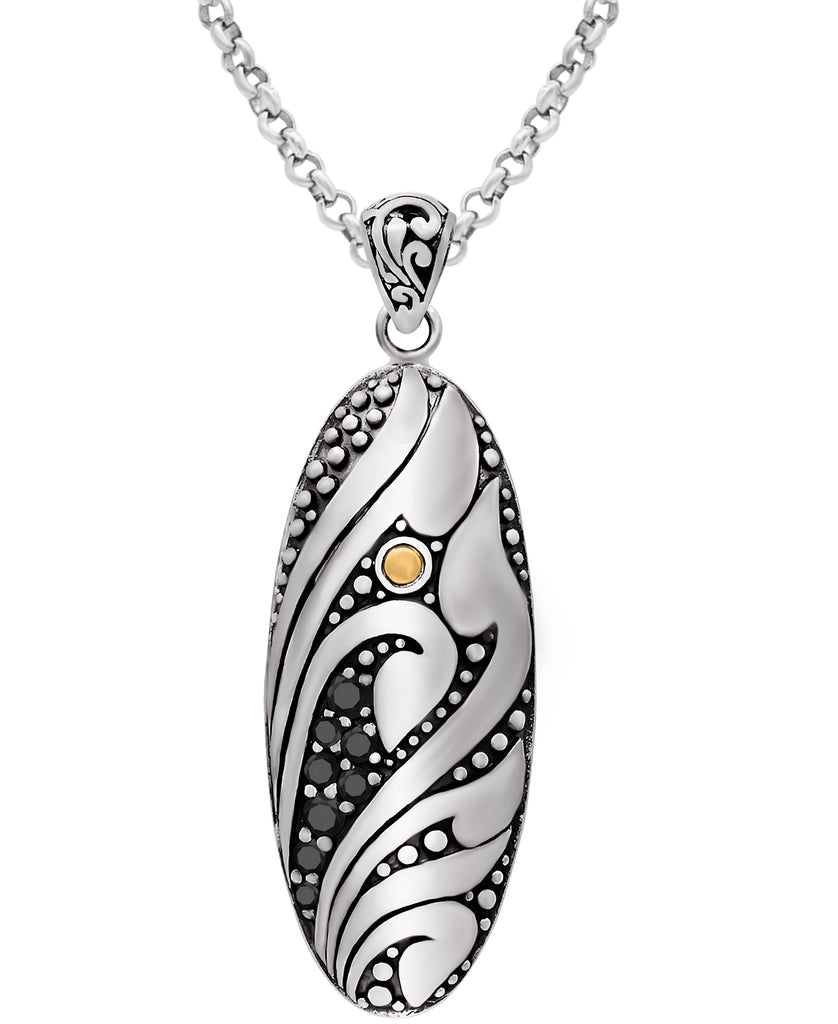 Bali Filigree Pendant Necklace with Rolo Chain and Spinel / / Cubic Zirconia in Sterling Silver and 18K Gold