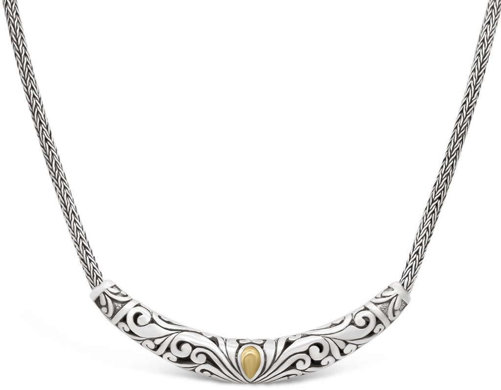 Bali FIligree Sterling Silver Necklace with Dragon Bone Chain embellished by 18K Gold