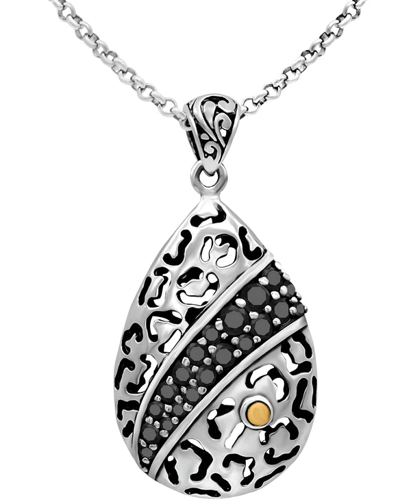 Bali Filigree Leopard Pendant Necklace with Rolo Chain and Spinel / CZ / Lab-Created Sapphire in Sterling Silver and 18K Gold