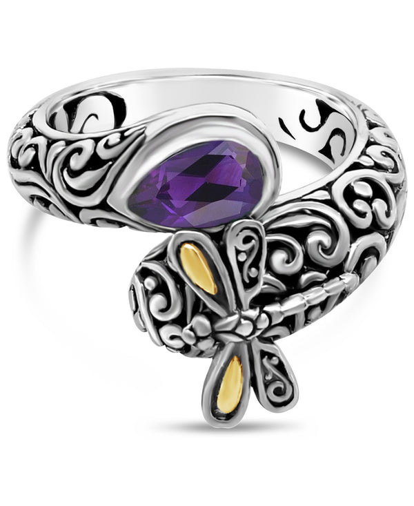 Sweet Dragonfly Bali Filigree Bypass Ring in Sterling Silver and 18K Gold with Amethyst - Blue Topaz - Swiss Blue Topaz - Garnet - Peridot - Citrine - Turquoise