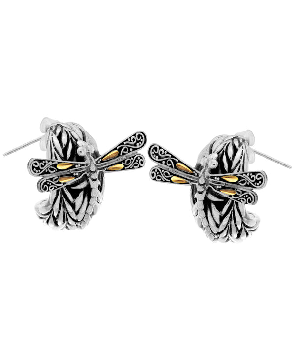 Bali Filigree Sweet Dragonfly Stud Earrings embellished by 18K Gold