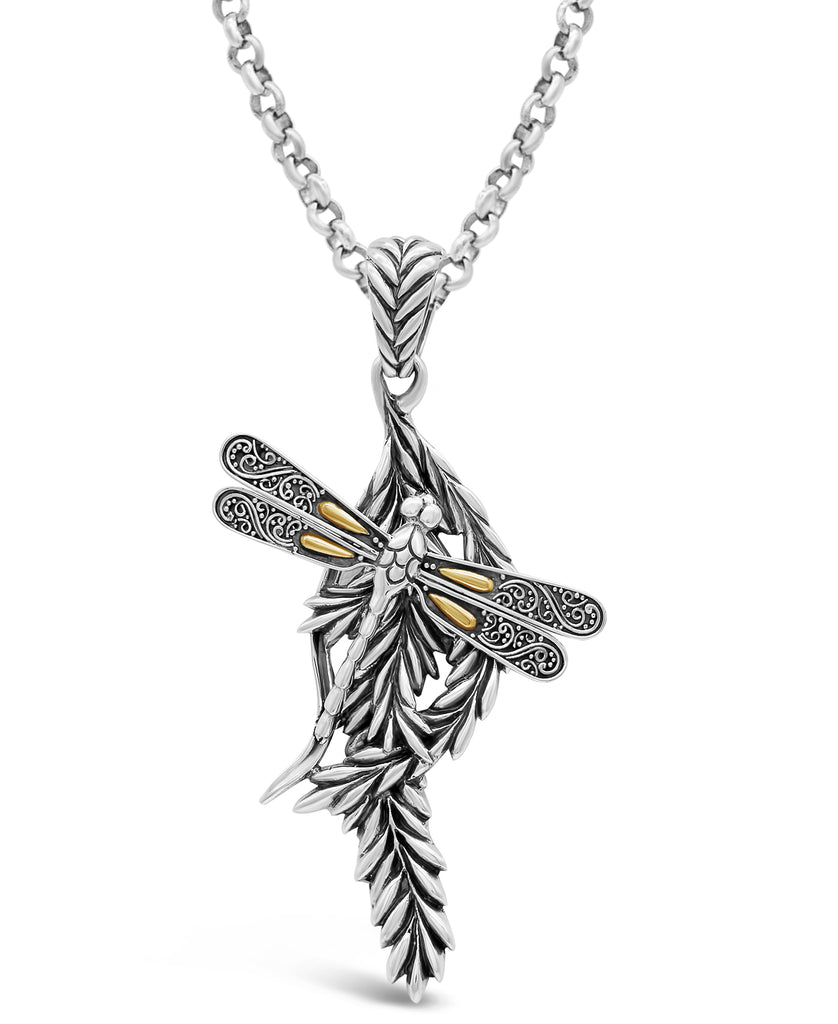 Bali Filigree Sweet Dragonfly Pendant Necklace with Rolo Chain in Sterling Silver and 18K Gold
