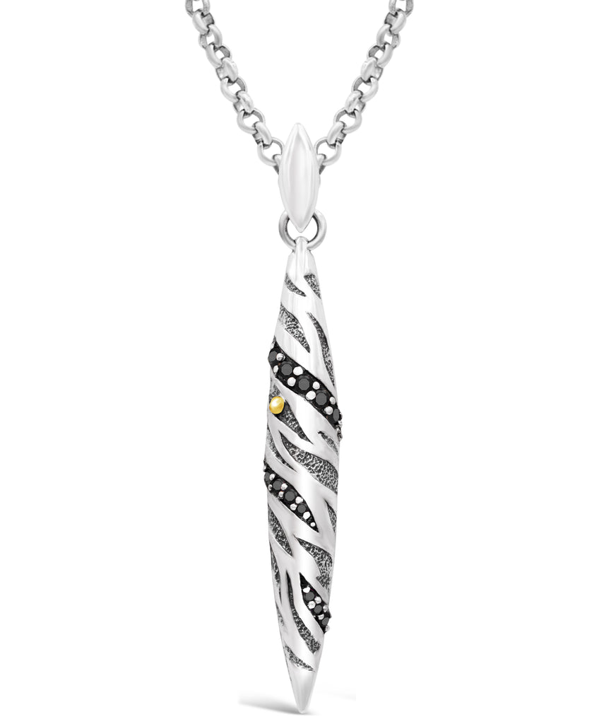 Bali Filigree Tiger Stripes Pendant Necklace with Rolo Chain and Spinel / CZ / Lab-Created Sapphire in Sterling Silver and 18K Gold