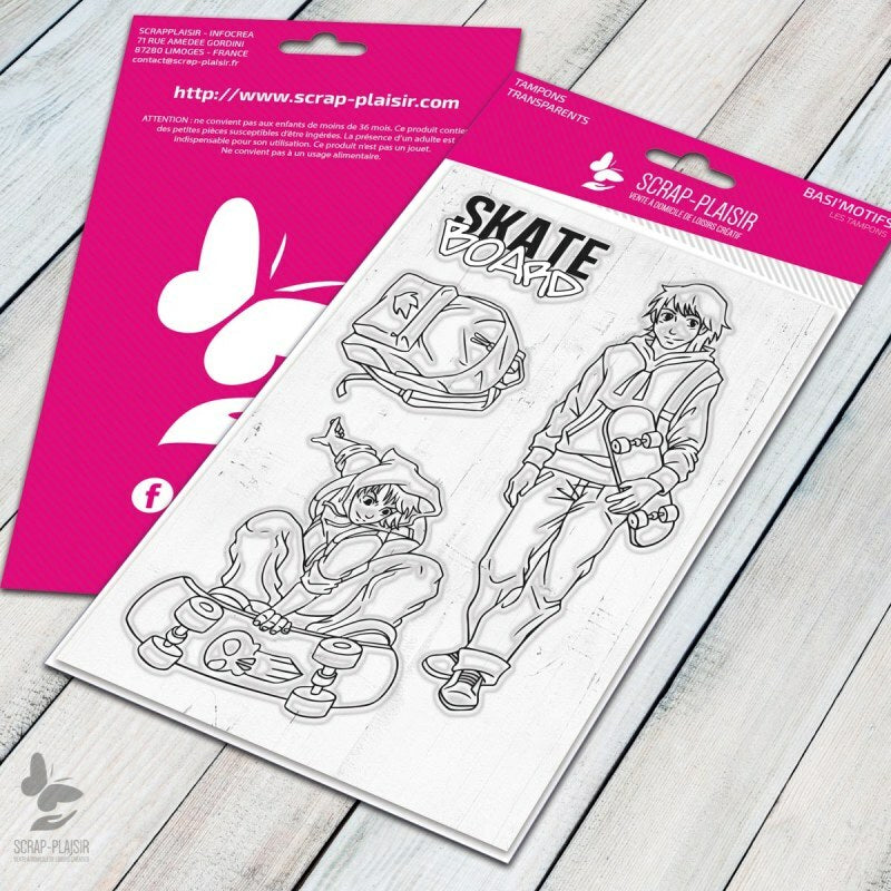 Set de 4 tampons clear Skate board - 10x15 cm