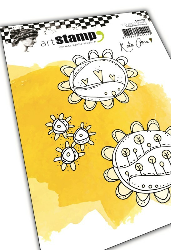 Set de 3 tampons cling A6 - Sunflower Doodles by Kate Crane - 10x15cm Carabelle - CréaPlaisir
