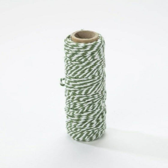 Bobine de fil bicolore Bakers Twine - 2mm x25m - Avocado Green