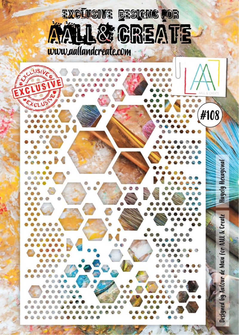 Pochoir A4 Mixed Media Hexagones - AALL and Create -108