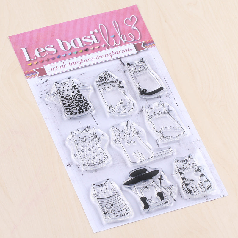 Set de 9 tampons clear chats design - 10x15cm