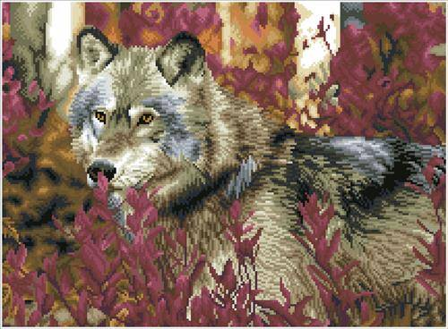 Kit broderie diamant Squares - Autumn wolf Diamond Dotz - CréaPlaisir