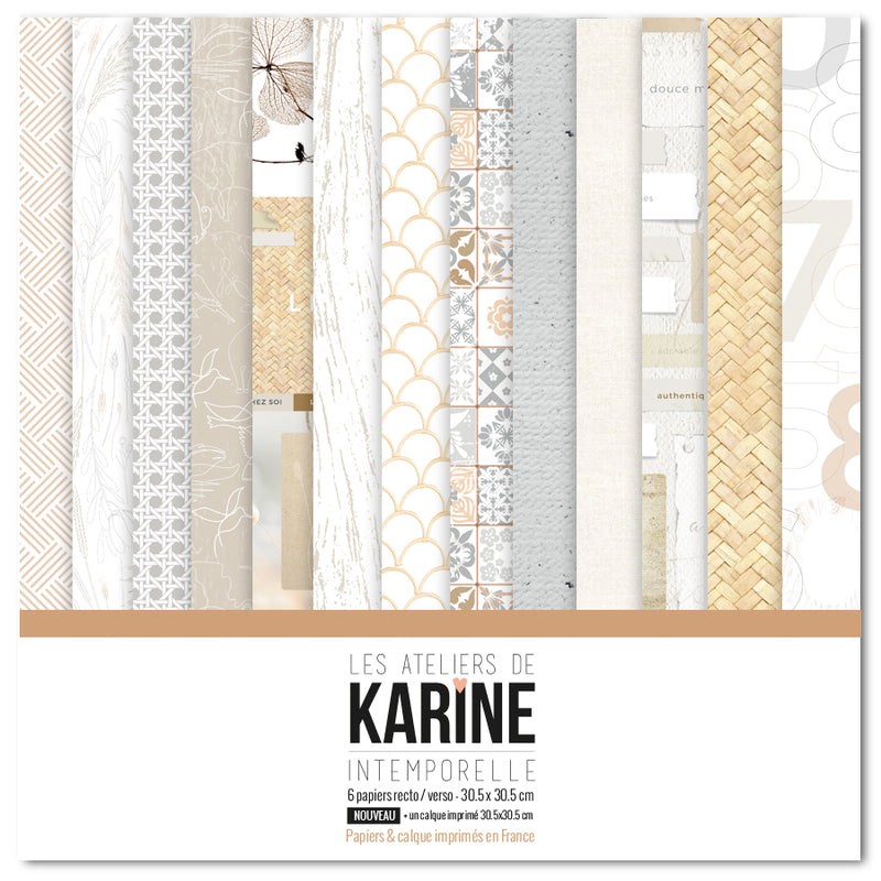 Set de 6 papiers 30,5x30,5cm - Intemporelle La collection - Les Ateliers de Karine