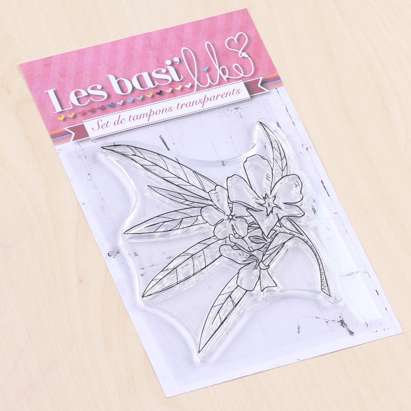 Tampon clear laurier rose - 10x8cm