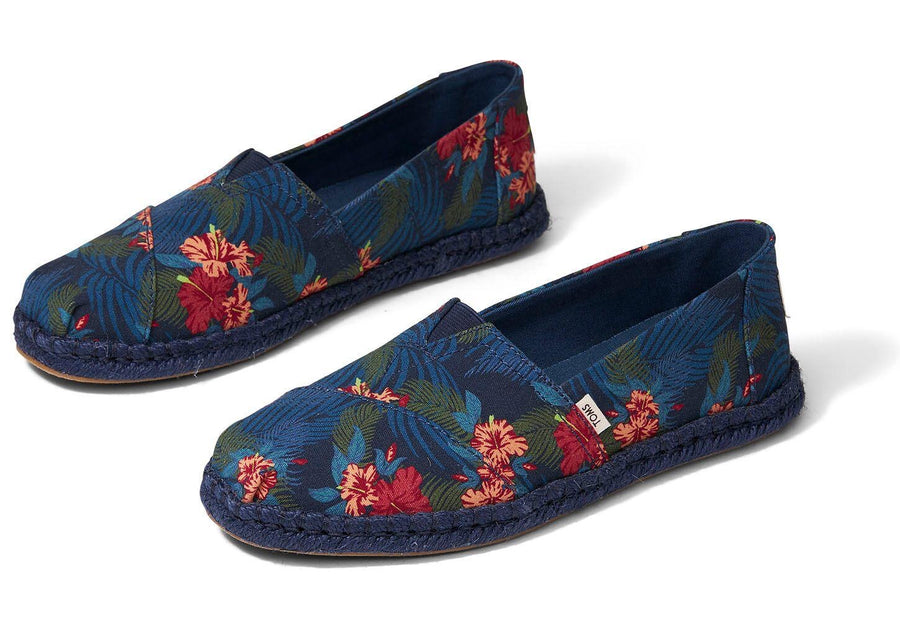 TOMS Navy Tropical Print