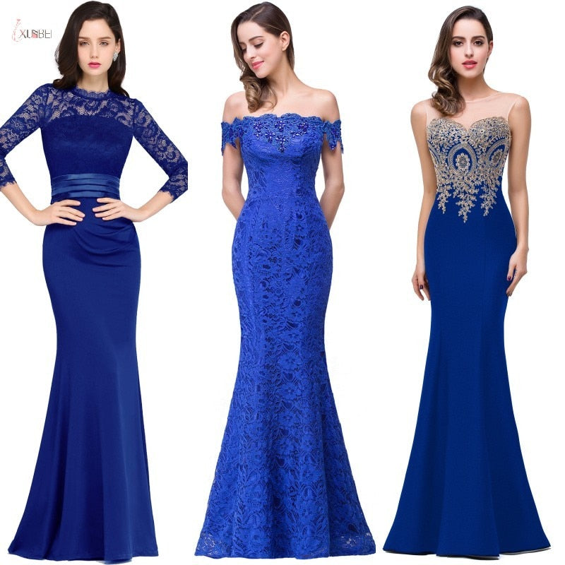 Royal Blue Lace Mermaid Long Bridesmaid Dresses Luxury Applique Wedding Party Gowns robe demoiselle d'honneur - onlinedressstore