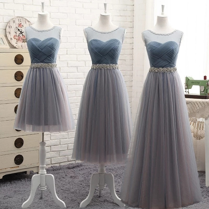 Bridesmaid Dresses Elegant Long Gray Blue Rhinestone Belt Wedding Party Dresses Slim Banquet Homecoming Party Prom Dresses - onlinedressstore