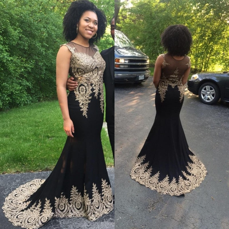 Evening Dress 2020 Elegant Long Mermaid Black Formal Gown Real Photo 2020 Lace Applique Sleeveless robe de soiree - onlinedressstore